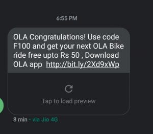 OLA Cabs - Just Give a Missed Call & Get Rs.50 OLA Bike Ride 1