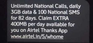 Airtel - Get 3GB/Day + Unlimited Calling & Data For 82 Days at Just Rs.55 1