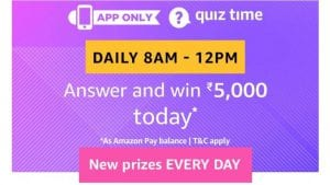 Amazon 17th June Quiz Answers - Answer & Win Rs.5000 Amazon Pay Balance 1