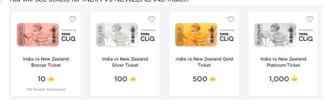[Answers]GameOfPoints -  9thJuly Answers for India Vs Newzeland Match - Win Tata CLiQ vouchers worth Rs.40,000 everyday! 3