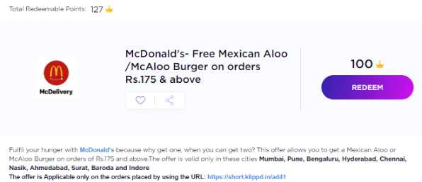 TimesPoints Get Free McAloo / Mexican Aloo Burger from McDonald's! 2