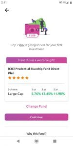 Piggy Mutual Fund App - Get Rs.500 on signup + Refer & Earn Rs.100 each 3