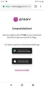 Piggy Mutual Fund App - Get Rs.500 on signup + Refer & Earn Rs.100 each 4