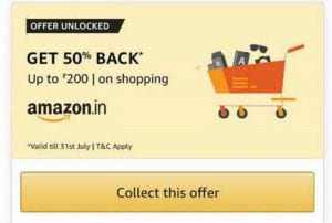 Amazon - 50% Cashback Upto Rs.200 on Shopping of Rs.400 or More 1