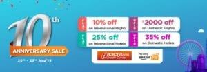 GOIBIBO 10th Anniversary Sale-: Upto Rs 1,500 Off Code on Domestic Flights + Flat Rs 126 CashKaro Cashback 1