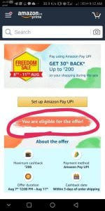 Amazon Freedom Sale - Get 30% Cashback on Payment with Amazon UPI + More Offers 4