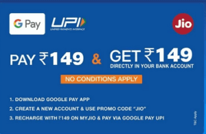 Google Pay Jio Loot - Get Rs.149 Plan Recharge Absolutely Free 1