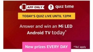 Amazon 9th September Quiz Answers - Answer & Win Mi LED TV 1