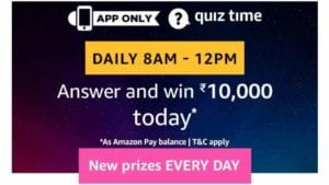 Amazon 7th September Quiz Answers - Answer & Win Rs.10000 1