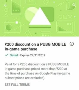 (User Specific)Google Play Store Free Credits - Get Upto Rs.250 off on PUBG Mobile in Game Purchase 1