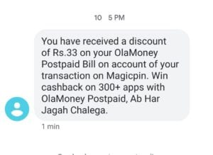 Magicpin OLA Postpaid Offer - Get Rs.1-100 Cashback on Payment Via OLA Postpaid 1