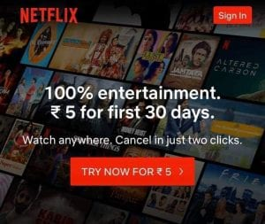 {April 2020} Trick to Get Netflix Premium Trial For Free or at Rs.5 1