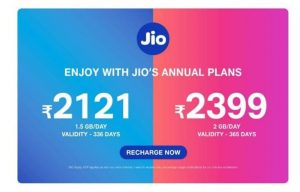Jio New Annual And Work From Home Packs :- Hi there. Welcome to BigTricks. We are back with another post. Jio keeps on bringing new recharge plans and offers for its customers and stays ahead in it's fields. This time, Jio has launched some new Annual and Work From Home plans. These plans are launched to compete with other companies and keep Jio ahead in the game. Also Read - Jio Recharge & Cashback Offers – All Cashback & Plans offers For Jio Like the name suggests, Jio Annual plan is of 365 days and is an addition to Jio's Rs. 2121 plan which was for 336 days.  Also, there are some new Work From Home plans. These Work From Home plans are like addons and which work only after your daily data expires. You need an active plan to use addons with. Validity of addons will depend on your active plan. These work from home plans are best suited for people who doesn't want their work to be left incomplete because of data issues. Addons are must as one never knows when they might come in hand. So, let's get ahead and let me introduce you to the new plans. Jio New Annual And Work From Home Packs Rate and Benefits :- Jio Rs. 2399 Annual Plan :- This is of Rs. 2399 and will be valid for a period of 365 days. Jio Rs. 2399 Annual Plan offers 2 GB Data per Day, unlimited voice and unlimited SMS. There's no FUP limits like Jio Rs. 2121 Annual Plan which had a limit of 12000 minutes for non-Jio calls. Also, this has a validity of 365 days (more than Rs. 2121 plan). Vodafone-Idea has Rs 2,399 prepaid pack in which users will get 1.5GB/day of data and 100 SMS/day and unlimited calling without any FUP limits whereas Airtel has Rs 2,398 provides 1.5GB/day of data and 100 SMS/day and unlimited calling without any FUP limits. Clearly, Jio is offering more. Jio New Work From Home Plans :- There are three new addon plans launched by Jio. They include Rs. 151 pack which offers 30GB of data, Rs. 201 plan that offers 40GB of data and Rs. 251 pack that offers 50GB data. There is no change in older addon plans.