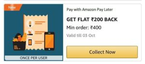 Amazon Pay Later cashback Offers